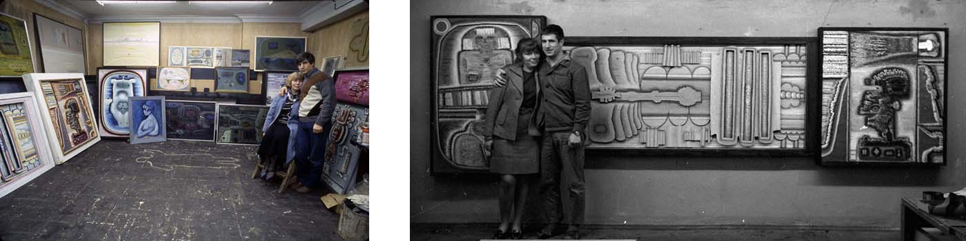 With Rimma in the studio on Russakovskaia Street. Moscow, 1979; With Rimma in front of Triptych No. 3 (1963) which is dedicated to her. Moscow,  1970
