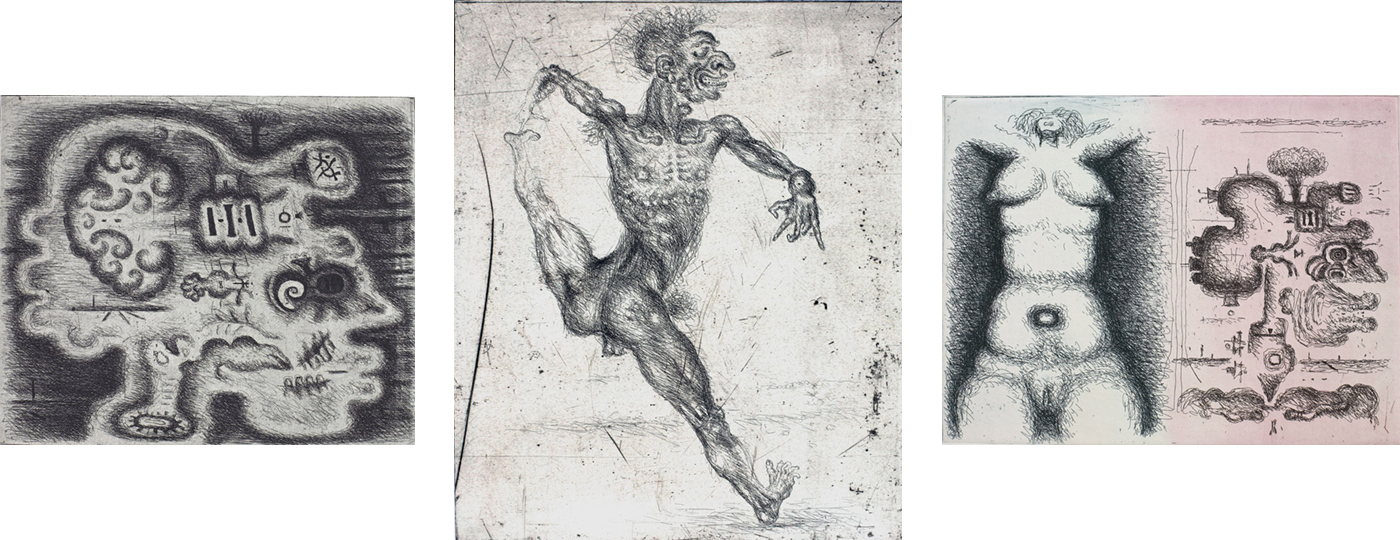 From the album of etchings Anatomy of Feelings: Head I; Frontispiece; Front View and Side View
